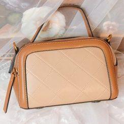 GU ZHI - Faux Leather Two-Tone Handbag
