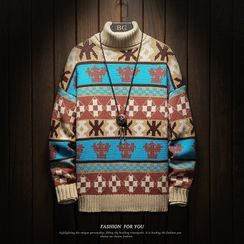 Sheck - Turtleneck Christmas Print  Sweater