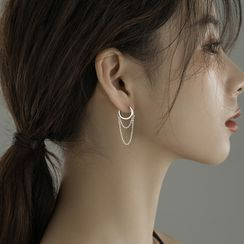 Hansha(ハンシャ) - 925 Sterling Silver Chained Hoop Earring