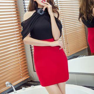 Maine - Cold-Shoulder Sheath Mini Dress