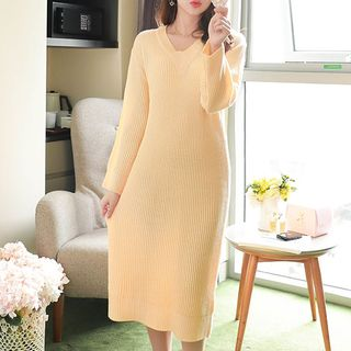 MyFiona - V-Neck Long Rib-Knit Dress