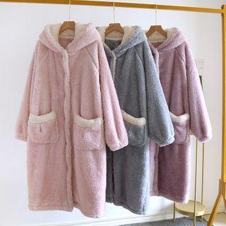 Dogini - Hooded Coral Fleece Robe
