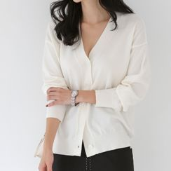 WITH IPUN - V-Neck Loose-Fit Cardigan in 9 Colors