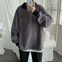 8th Sense - Long-Sleeve Plain Polo Shirt