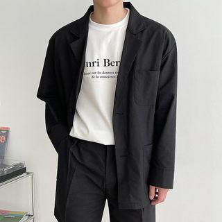 Seoul Homme - Long-Sleeve Linen Blend Blazer