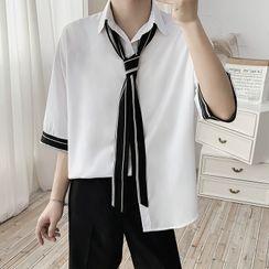 VEAZ - 短袖领结带衬衫