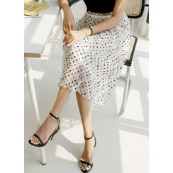 Styleonme - Dotted Lace Midi Flare Skirt
