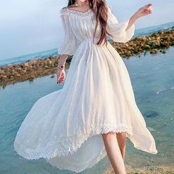 Glaypio - Off-Shoulder Lace-Trim Sundress
