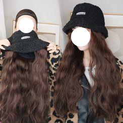 Princess Pea - Long Half Wig with Shearling Bucket Hat  - Wavy