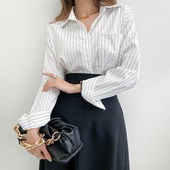 DABAGIRL - Long-Sleeve Pinstripe Shirt