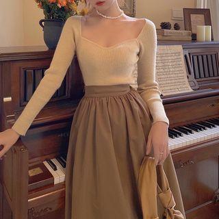 Lambrezza - Long-Sleeve Knit Top / Midi A-Line Skirt