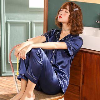 Sweetzer - Pajama Set: Contrast Trim Short-Sleeve Top + Pants
