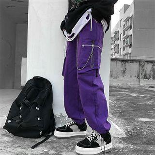 Porstina - Drawstring Hem Side Pocket Cargo Pants /  Chain