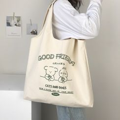 TangTangBags(タンタンバッグズ) - Cartoon Print Canvas Tote Bag