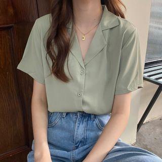 WIKPROM - Short-Sleeve Button-Up V-Neck Shirt