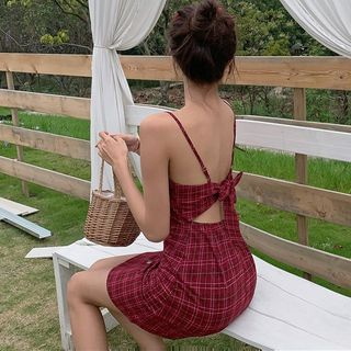 Ginger Girl - Cutout Bow Back Plaid Strappy Dress