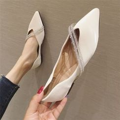 The Shoe House - Rhinestone Strap Pointed Flats