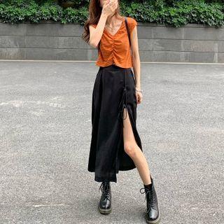 Thinmia(シンミア) - Drawstring Cropped Tank Top / Side Slit Midi Skirt