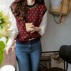 LEELIN(リーリン) - Floral Patterned Knit Vest