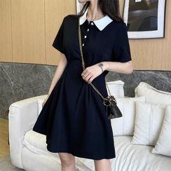 Apotheosis - Short-Sleeve Contrast Collar A-Line Polo Dress