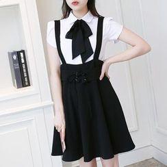 In the Mood - Plain Suspender Flared Skirt