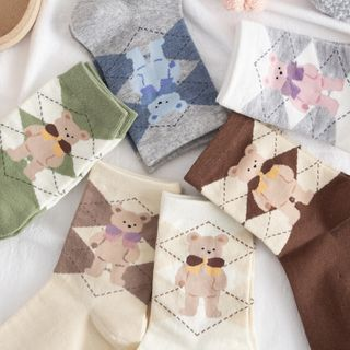 Castellane - Bear Print Argyle Socks