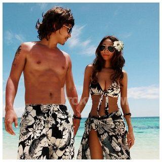 Salanghae - Couple Matching Print Bikini / Beach Cover-Up / Swim Trunks / Set