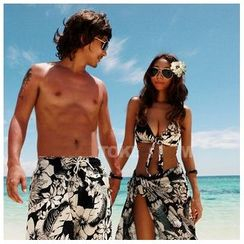 Salanghae - 情侣印花比基尼泳衣 / 沙滩罩衫 / 沙滩裤 / 套装