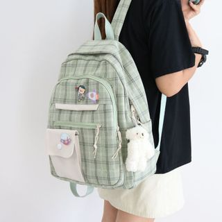 Little Days(リトルデイズ) - Plaid Canvas Backpack