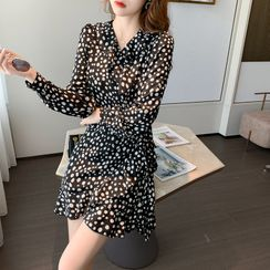 Yuxi - Printed V-Neck Long-Sleeve Mini A-Line Dress
