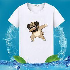 Macho(マッチョ) - Short-Sleeve Print T-Shirt