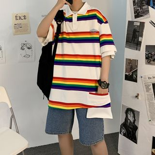 MIKAEL - Couple Matching Elbow-Sleeve Rainbow Stripe Polo Shirt