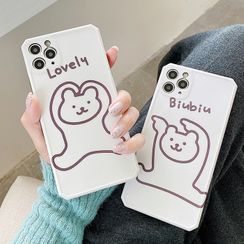 Sugar&Spice - Bear Print Phone Case - iPhone 11 Pro Max / 11 Pro / 11 / SE / XS Max / XS / XR / X / SE 2 / 8 / 8 Plus / 7 / 7 Plus