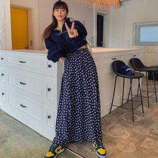 LIPHOP - Band-Waist Maxi Floral Skirt