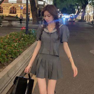 YOOKIE - 水手领短款上衣 + 高腰打褶裥A字裙