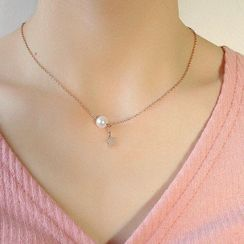 Tenri - Stainless Steel Star Faux Pearl Pendant Necklace