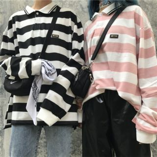 RONIN - Long-Sleeve Striped Polo Shirt