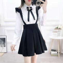 Petit Lace - Set: Bow-Accent Shirt + Ruffled Jumper Skirt