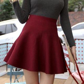 anzoveve - High Waist Knit Skater Skirt
