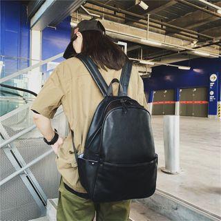 Kaffee - Faux Leather Backpack