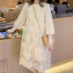 Empressa - Maternity Set: Balloon-Sleeve Knit Top + Lace Pinafore Dress