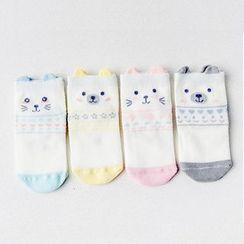 Knit a Bit(ニットアビット) - Kids Set of 4: Animal Pattern Socks