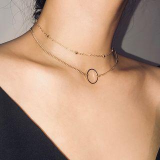 Seirios - 2er-Set: Chocker-Ketten mit Ring- und Perlen-Details im Lagen-Look