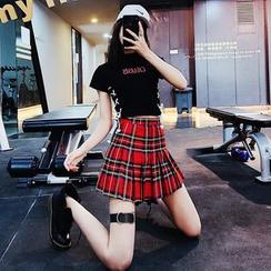 Nigella - 百褶格子A字半身裙裤