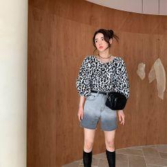 PPGIRL - Washed Fray-Hem Denim Shorts