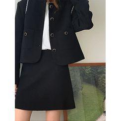 maybe-baby - Round-Neck Tweed Jacket