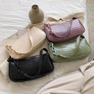 Diamante - Faux Leather Zip Handbag