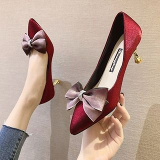 Novice(ノバイス) - Bow Pointed Faux Leather Pumps