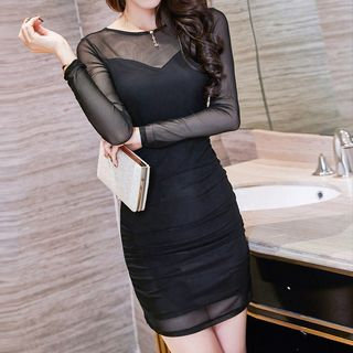 Fashion Street - Mesh Panel Long Sleeve Dress