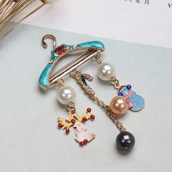 Yongge - Christmas Faux Pearl Hanger Fringed Brooch